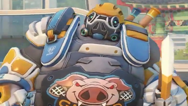Lacrosse Roadhog screenshot from the Summer Games 2018 event in Overwatch
