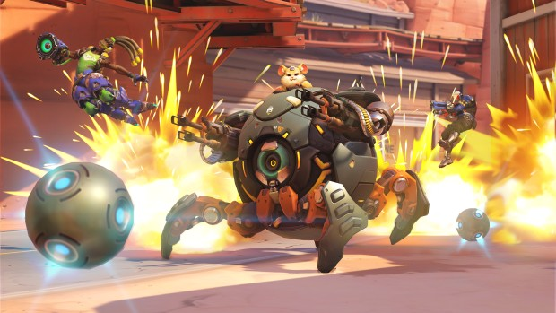 Overwatch's Wrecking Ball using his mine field ultimate