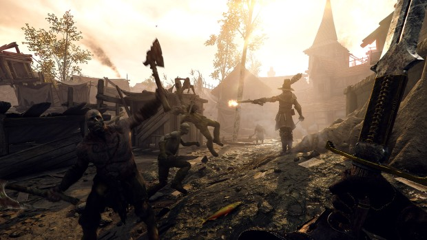 Vermintide 2: Shadow Over Bogenhafen screenshot of Saltzprye shooting Chaos warriors