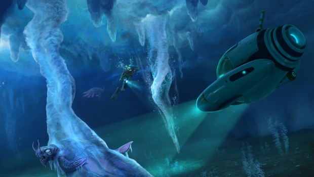 Subnautica: Below Zero official artwork showing some frozen caverns