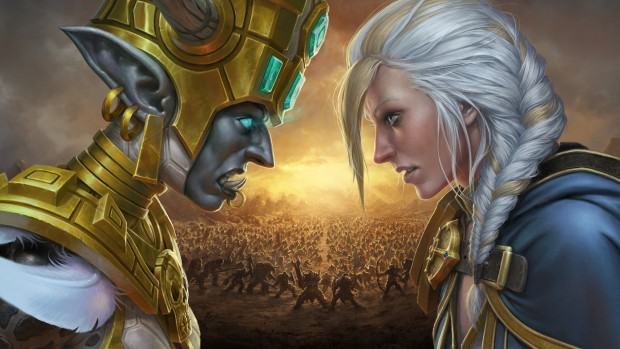 World of Warcraft: Battle for Azeroth artwork showing the Horde facing off against the Alliance
