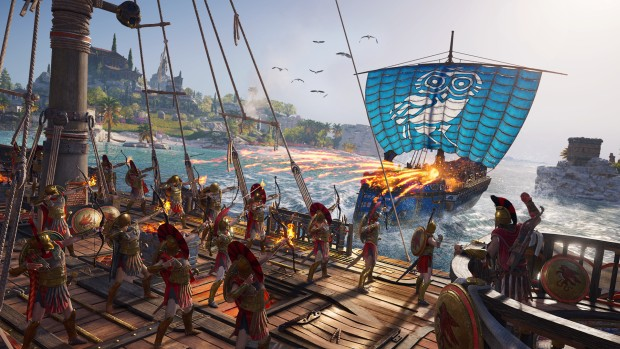 Assassin's Creed Odyssey screenshot of a large-scale ship battle