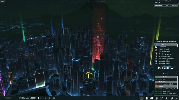 Frozen Synapse 2 screenshot of the open-world city at night