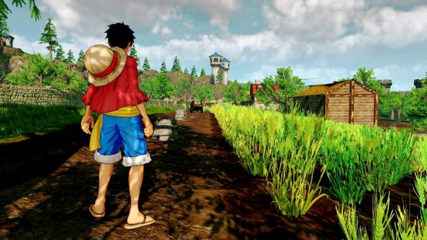 One Piece: World Seeker official screenshot of our character staring at a farm