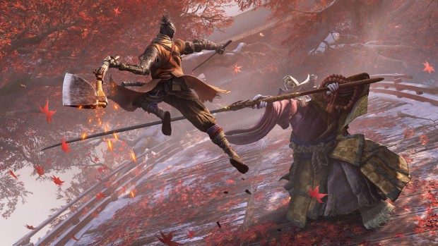 Sekiro: Shadows Die Twice official screenshot of a combat encounter against a boss