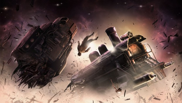Sunless Skies official artwork showing a broken train in space