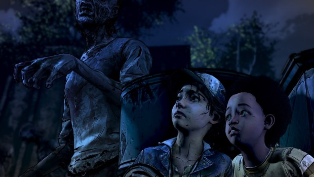 Clementine and AJ hiding from a zombie
