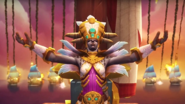 World of Warcraft screenshot of Princess Talanji from the Horde intro cinematic
