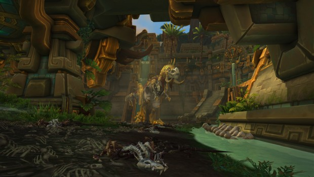 World of Warcraft: Battle for Azeroth screenshot of the skeletal Rezan boss