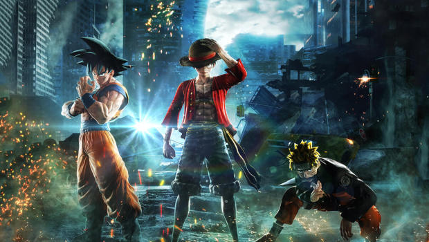 Jump Force official artwork showing three of the main characters