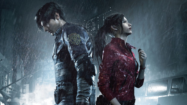 Resident Evil 2 artwork showing both Leon and Claire