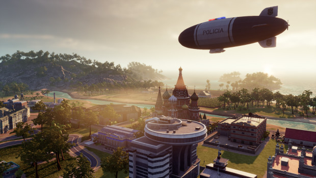 Tropico 6 screenshot of a police blimp floating over the city