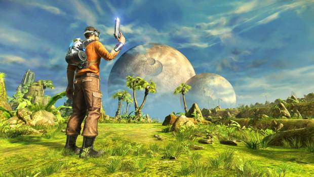 Official screenshot of Outcast - Second Contact showing two moons