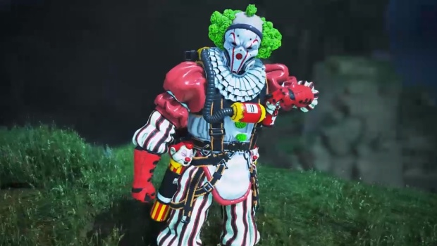 Apex Legends screenshot of Caustic's Clown-based Halloween costume