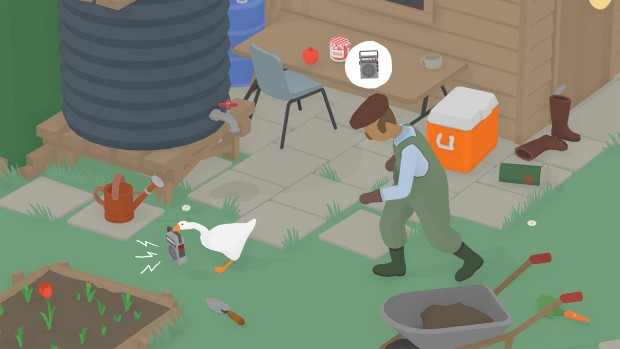 Untitled Goose Game screenshot of the goose stealing a radio