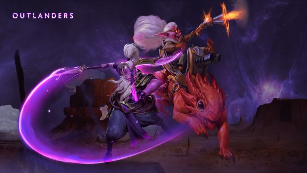 Dota 2 artwork for the Outlanders patch and heroes