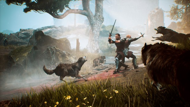 Gothic 1 Playable Teaser screenshot of a wolf attack