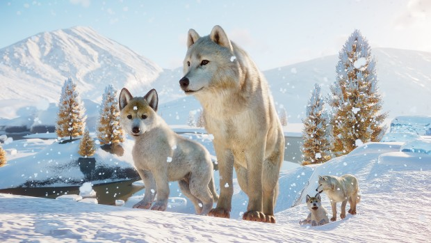 Screenshot of wolves from Planet Zoo's Arctic Pack
