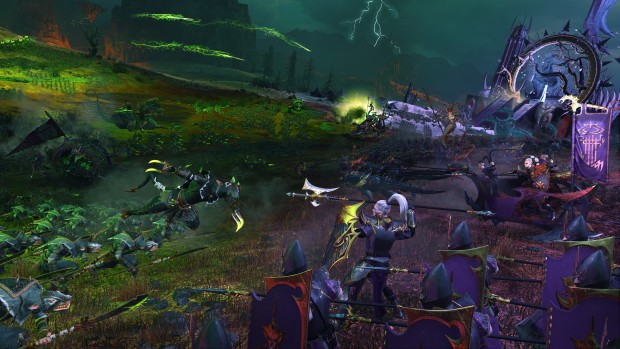 Total War: Warhammer 2 The Shadow and the Blade DLC screenshot of Skaven vs Dark Elves