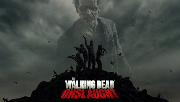 Official artwork and logo for The Walking Dead Onslaught VR game