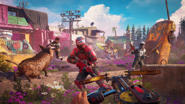 Far Cry: New Dawn screenshot of the player and a boar attacking enemies