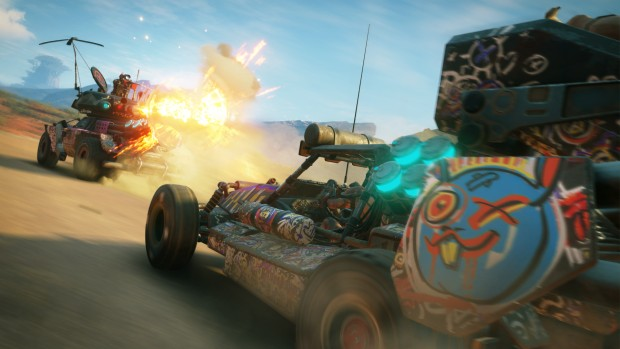 RAGE 2 screenshot of two vehicles chasing each other