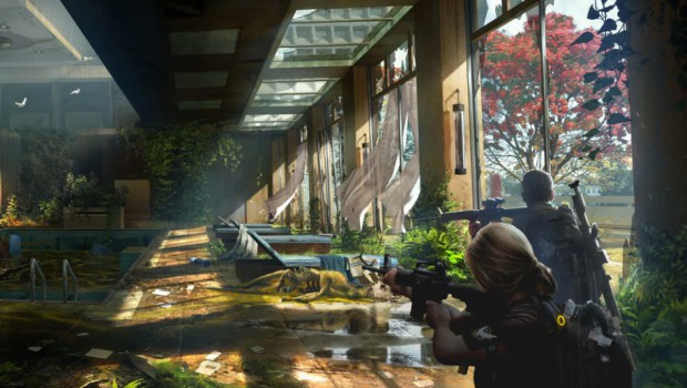 The Division 2 artwork showing a fully overgrown sauna