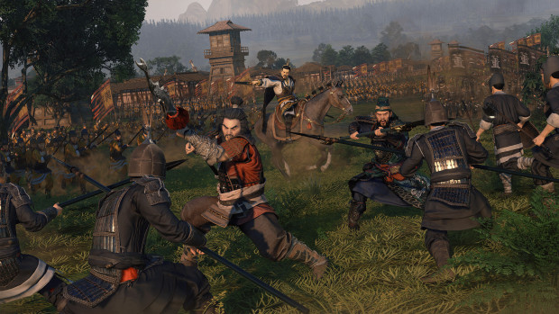 Total War: Three Kingdoms screenshot showing a close-up battle