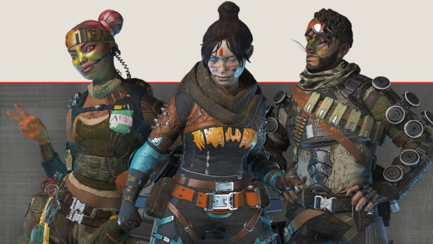 Apex Legends screenshot of skins for Mirage, Lifeline and Wraith from the first Battle Pass