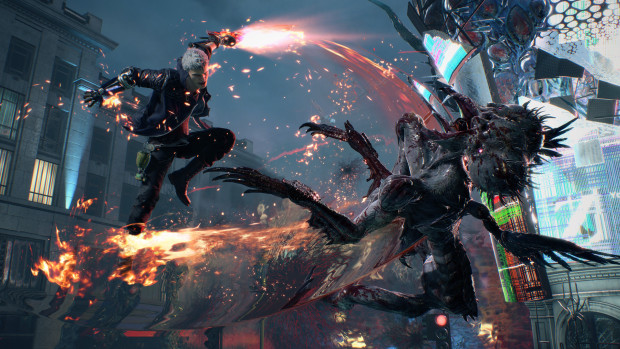 Devil May Cry 5 screenshot of Nero fighting demons