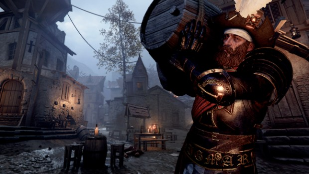 Vermintide 2 screenshot of Kruber from A Quiet Drink map