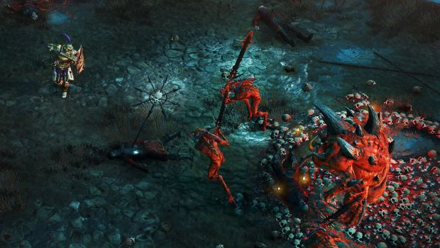Warhammer: Chaosbane screenshot of the Empire Soldier in action
