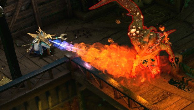 Warhammer: Chaosbane screenshot of the High Elf Mage breathing fire