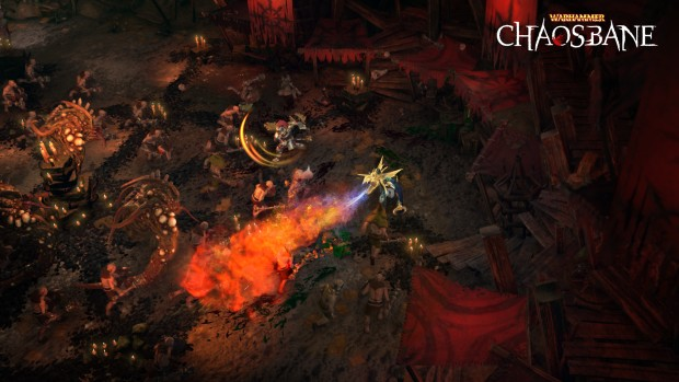 Warhammer: Chaosbane screenshot of a co-op battle