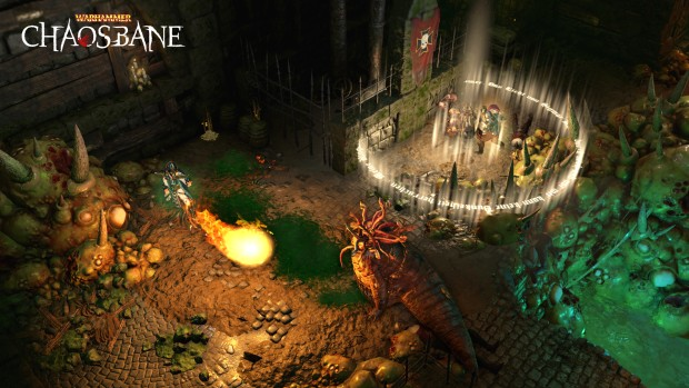 Warhammer: Chaosbane screenshot of heroes fighting in the sewers