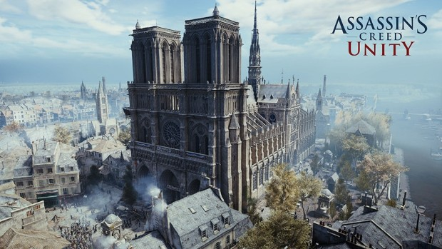 Assassin's Creed Unity screenshot showing the Notre-Dame cathedral