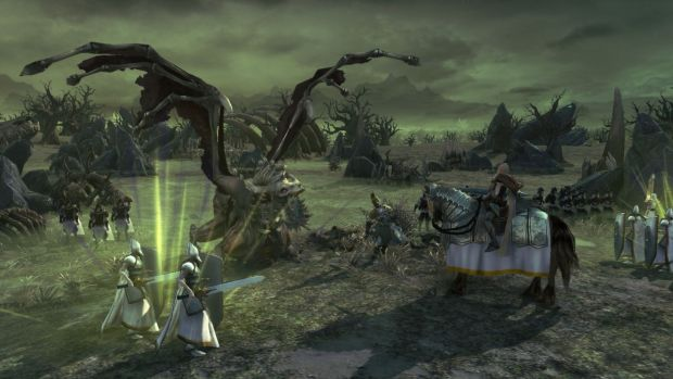 Age of Wonders 3 official screenshot of a battle against an undead dragon