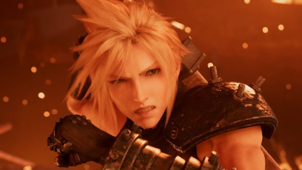 Cinematic screenshot of Cloud from the Final Fantasy VII remake