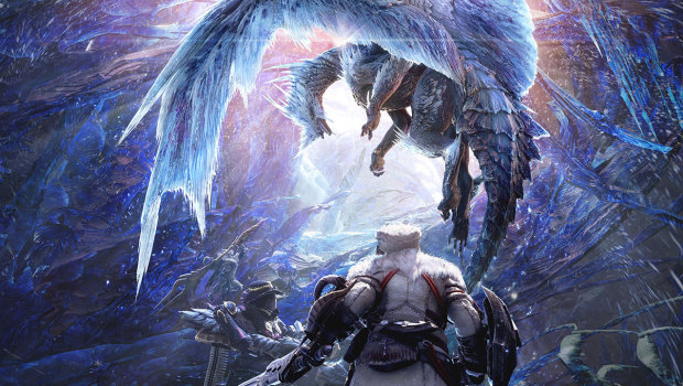 Monster Hunter: World's Iceborne expansion artwork of a frost dragon