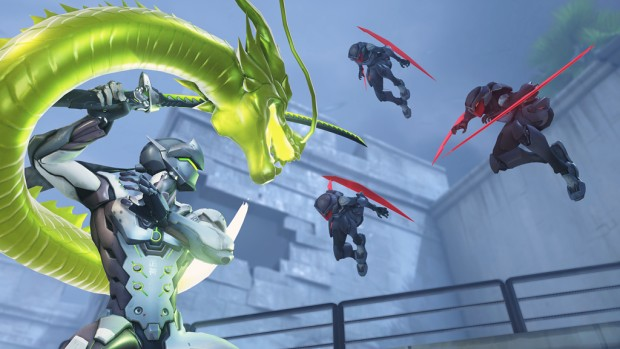 Screenshot of Overwatch's Genji fighting three ninjas with his dragonblade
