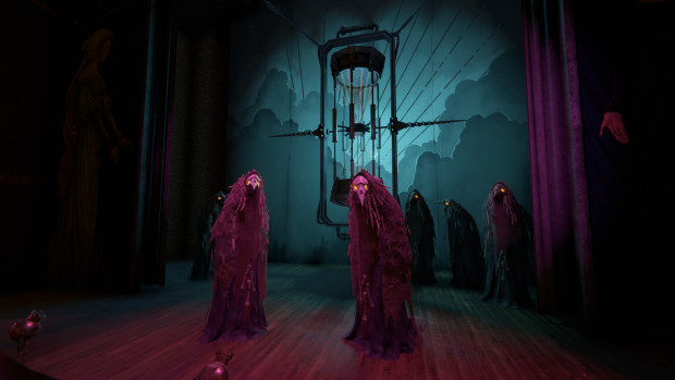 Pathologic 2 screenshot of theater actors in crow costumes