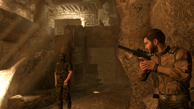 Alpha Protocol screenshot of the main character sneaking behind a wall