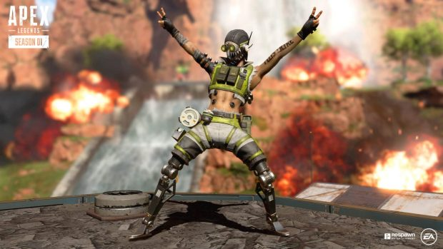 Apex Legends screenshot of Octane and everything exploding around him