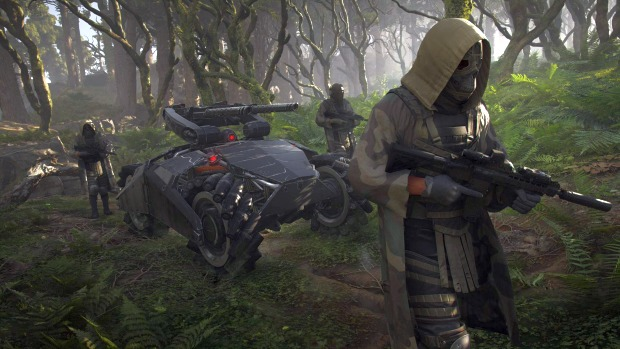 Ghost Recon Breakpoint official screenshot of a futuristic forest ambush