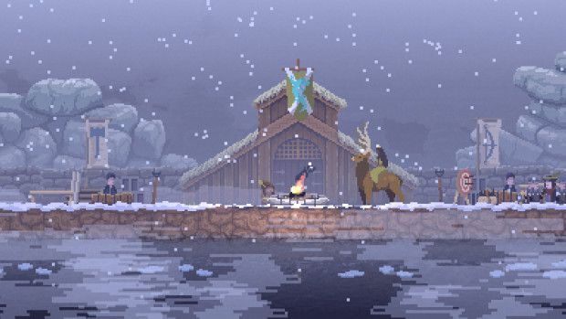 Kingdom: New Lands player character riding a giant moose