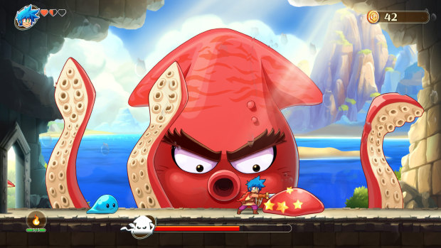 Monster Boy and the Cursed Kingdom official artwork showing a cartoony squish boss