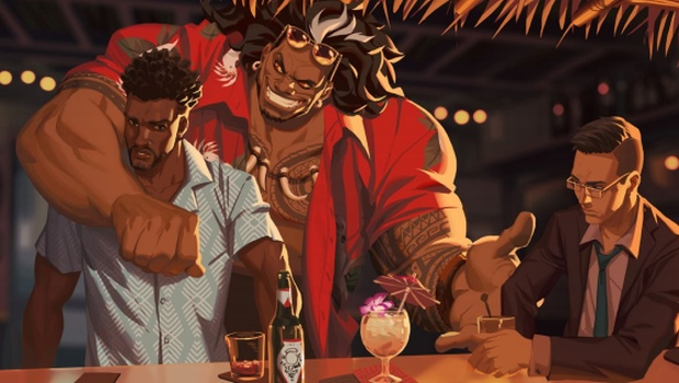 Overwatch official artwork showing Baptiste and his former friend Mauga