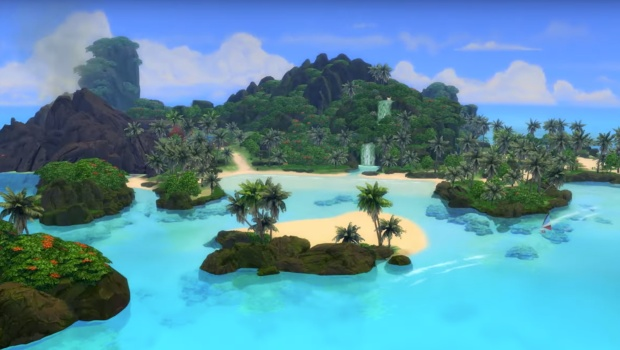 The Sims 4 screenshot of the new island from the Island Living expansion