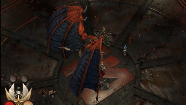 Warhammer: Chaosbane screenshot of a boss fight against a Bloodthirster
