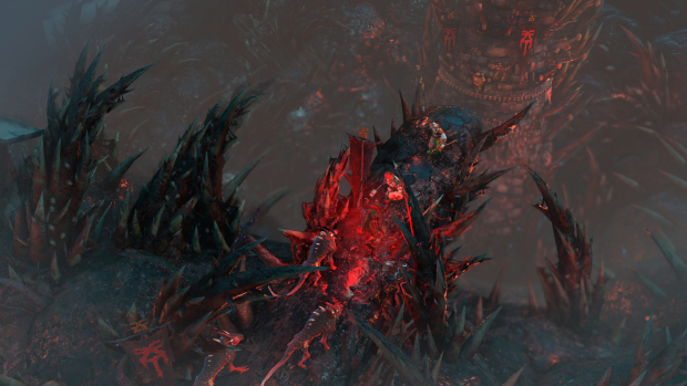Warhammer: Chaosbane screenshot of a fight on a bloodied bridge riddled with skulls